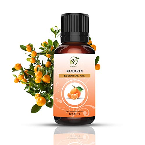 VIRTUAL Mandarin (Citrus Reticulata) Therapeutic Grade Steam Distilled Undiluted Essential Oil for Skin Care and Hair 15ML