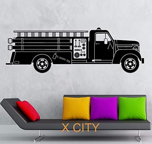 zhuzhuwen Wandtattoos Bretter, Feuerwehrauto Retter Le Transfer Schablone M, Waldwandtattoo Vinyl 39X118Cm