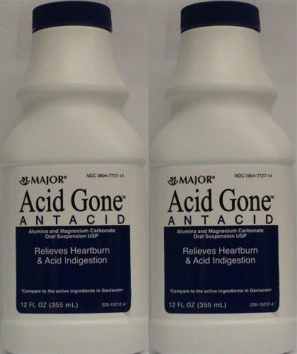 Acid Gone Antacid Liquid Generic for Gaviscon Regular Strength Liquid Antacid, Spearmint Flavor, 12-Oz Bottles Bottles by Major Pharmaceuticals