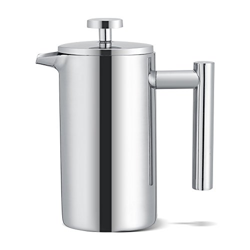 French Press koffiemachine, French Press System koffiezetapparaat, dubbelwandige RVS koffiemachine French Press theepot met filter (350 ml)
