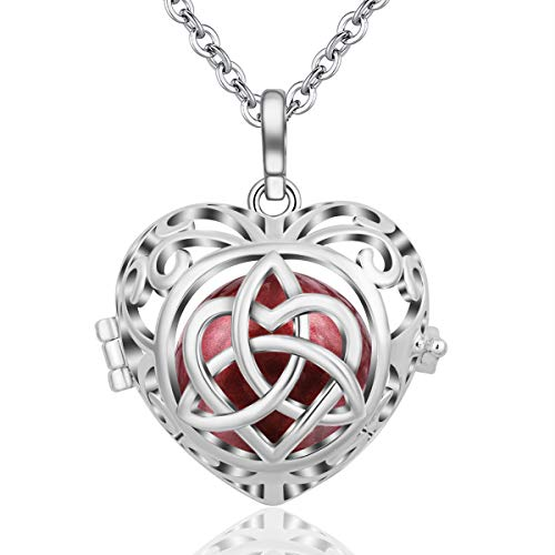 EUDORA Harmony Ball Heart Celtic Knot Bell Music Necklace Pregnancy, Mexican Bola Pendant Women Jewellery Pendant Long Necklace for Women Best Gift, 30'