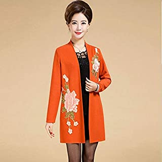 XuBa Spring Autumn Middle Age Women Jacket Fashion Mother Embroidery Flowers Elegant Shawl Outwear Plus Size 5XL,