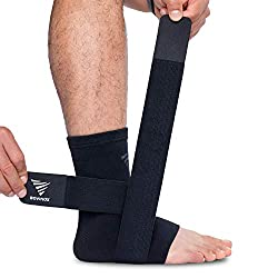 Ankle bandage set, ankle bandage for pain relief, Achilles tendon bandage for ligament stretching, sprains & arthritis, foot bandages for women & men (black - single, large)