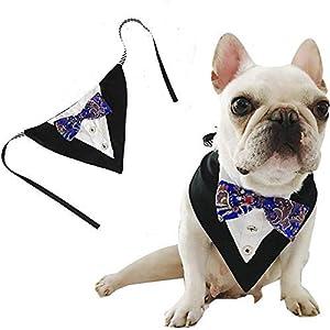 FEimaX Dog Bandana Pet Triangle Bibs Scarfs Reversible Adjustable Collar Gentleman Bow Tie Suit Novelty Bandanas Dogs Neckerchief Fashion Wedding Dress Kerchief for Puppy and Cat