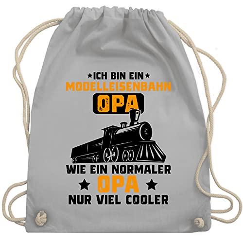 Shirtracer Opa Geschenke - Ich bin ein Modelleisenbahn Opa - schwarz/orange - Unisize - Hellgrau - Zug - WM110 - Turnbeutel und Stoffbeutel aus Baumwolle