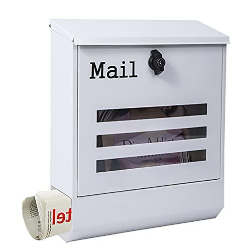 GHQ Buzón, Buzón Postal de Montaje en Pared con Cerradura, Soporte para Periódicos, Ventanas de Visualización y Placa de Identificación, Fácil de Instalar