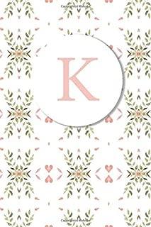K: Pink Floral Monogram Sketchbook | 110 Sketchbook Pages (6 x 9) | Floral Watercolor Monogram Sketch Notebook | Personalized Initial Letter Journal | Monogramed Sketchbook