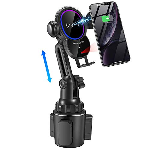 WALOTAR Cup Phone Holder Wireless Car Charger Mount,Auto-Clamping 10W Qi Fast Charging Universal Adjustable Air Vent Cup Mount Compatible iPhone 12 Pro Max/11/Xs MAX/X/8,Samsung S20/S10/S10+/S9/S8