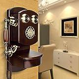 WanNing Vintage teléfono de Pared clásico marrón Retro teléfono Fijo nostálgico teléfono Marcado de Pared Campana de Metal giratoria Manos Libres y función de rellamada teléfono de Escritorio Antiguo