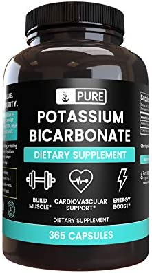 Pure Potassium Bicarbonate 365 Capsules Potent Gluten Free Potassium Supplement 800 mg Serving product image