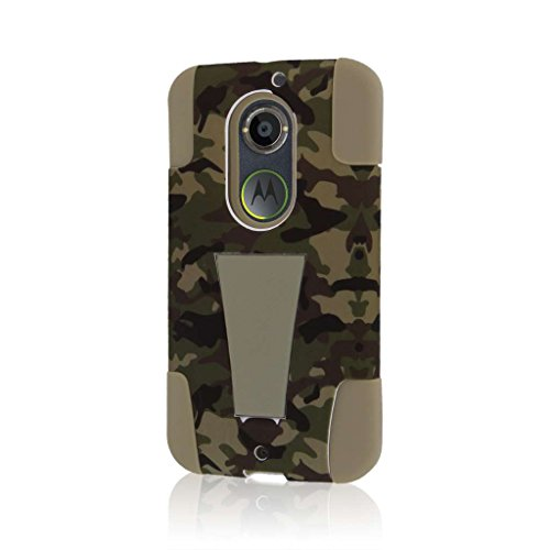 Motorola Moto X Case (2nd Gen 2014) (XT1096), MPERO IMPACT X Series Dual Layered Tough Durable Shock Absorbing Silicone Polycarbonate Hybrid Kickstand Case for Moto X (2nd Gen 2014) [Perfect Fit & Precise Port Cut Outs] - Hunter Camo