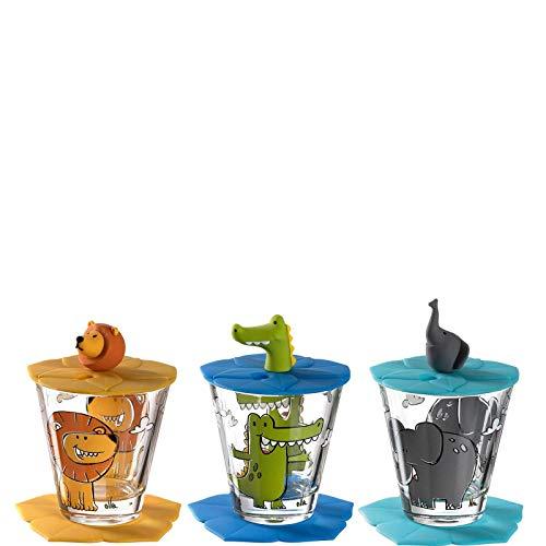 Leonardo Bambini Kindergläser, 3er Set, Kinder-Becher aus Glas mit Tier-Motiven, Deckel, Untersetzer, spülmaschinengeeignet 9 teilig, 215 ml, 034804