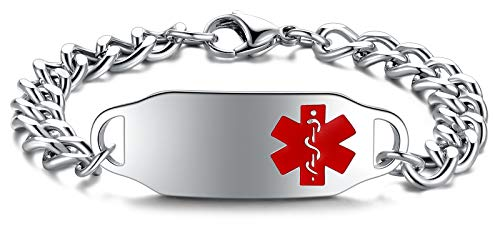 JF.JEWELRY Medical Bracelets for Women | Custom Medical Alert Epilepsy Bracelet for Women Personalized Medical Alert Id Bracelets for Men, 5.5-8.5 Inches, Free Engraving Red Medical Logo