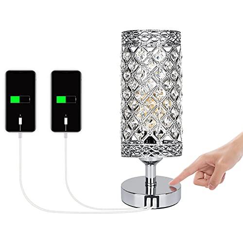 DAMORON Lámpara de cabecera de cristal, Lámpara de mesa de salón vintage con 2 puertos USB, Lámpara de cabecera regulable al...