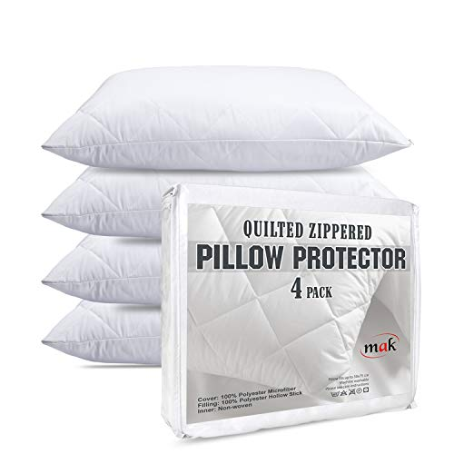 mak - Pack Of 4 Quilted Pillow Cases Protector Zippered Enclosure White 50x75