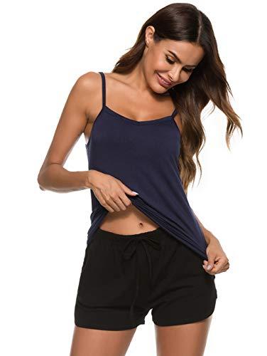 Vlazom Conjunto de Pijama Mujer Verano Pijama Corto Mujer Super Cómoda y Suave, Ropa de Dormir Transpirable + Pantalón Corto S-XXL