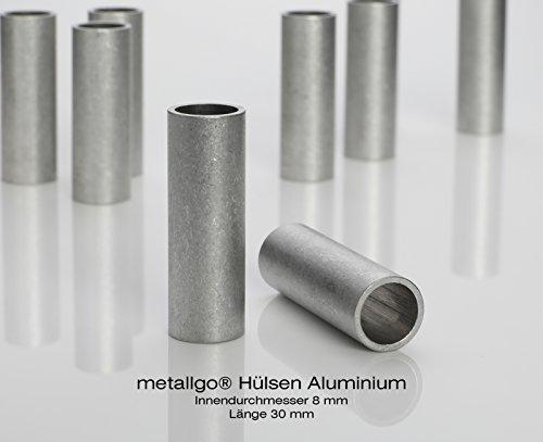 Aluminium Abstandshülsen, Distanzhülsen – ohne Innengewinde, M8 Schrauben beweglich durchsteckbar – 10 x 8 x 1 mm (Außen x Innen x Wandstärke) – 20 Stück, Länge 30 mm