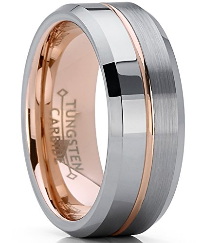 Metal Masters Co. Men's Women's Rose Tone Tungsten Carbide Wedding Band Engagement Ring, Comfort Fit 8mm 8