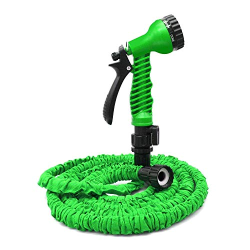 VC-Time Garden Hose, Water Hose, 50FT Expandable Garden Water Hose, Double Latex Core - Extra Strength Fabric Protection - 7 Functions Spray Nozzle, Collapsible Hose for Flowers (50FT, Green)