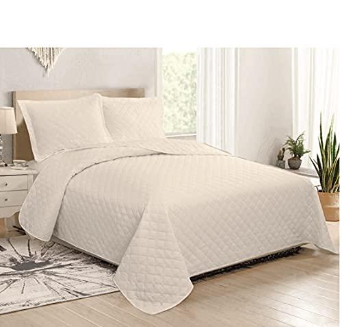 il dolce stile della tua casa Colcha de verano Quilt colcha colcha matrimonial cama 2 plazas 100 gr color liso Mod. Bon ton (gris)