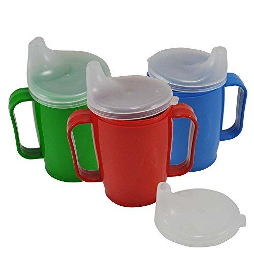 Schnabelbecher, tasse, Trinktasse mit Griff + 2 Deckel 4+12 mm, 250ml, weiß