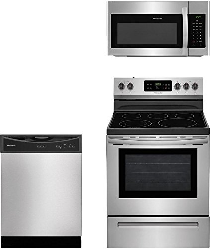"Frigidaire 3-Piece Stainless Steel Kitchen Package with FFEF3054TS 30"" Freestanding Electric Range, FFMV1645TS 30"" Over-the-Range Microwave and FFBD2406NS 24"" Full Console Dishwasher"