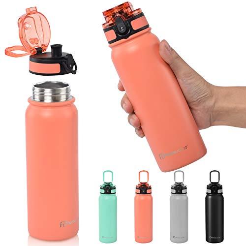 Homevalue Bouteille Isotherme, sans BPA, Gourde INOX Reutilisable pour Maintien Chaud de 12 Heures & du Froid Jusqu'à 24 Heures, Bouteille de Sport étanche à la Fuite pour Randonnée,Enfant, École