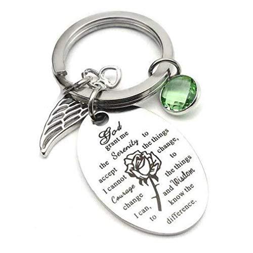 God Verleent Me De Sereniteit Sleutelhanger Christelijke Religieuze Geschenken Roestvrij Staal Key Ring Rose Parel Hanger,A