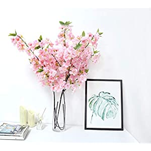 3 Pcs Artificial Cherry Blossom Branches Silk Flowers Stems Tall Fake Flower Arrangements for Home Wedding Decoration (Deep Pink ( with Buds)-3 Pcs)