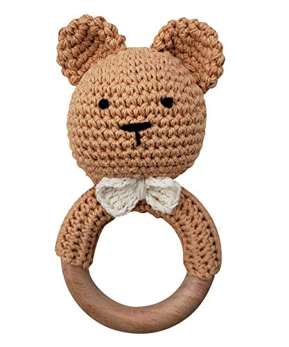 Natural Crochet Teddy Bear Teether Baby Toy Rattle Forest Friends Amigurumi on Natural Wooden Teething Ring Rattle New Born Photography (Teddy Bear Rattle)
