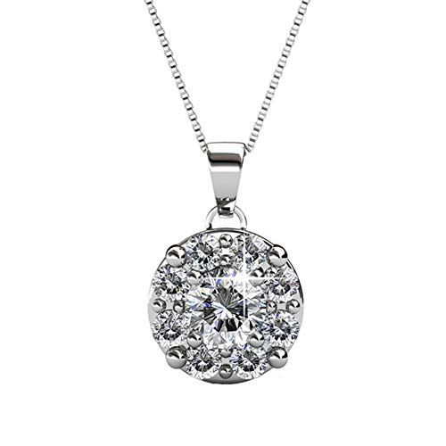 Cate & Chloe Ruth White Gold Plated Pendant Necklace with Swarovski Crystals, Beautiful Halo Silver Necklace for Women with 8 Round Cut Swarovski Crystals with Solitaire Center Crystal