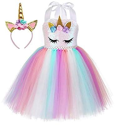 Tutu Dreams Unicorn Dresses for Girls Birthday Party Fairy Princess Tutu Dresses Gown Prom Ball Dress Up (Sequin Unicorn, XX-Large)