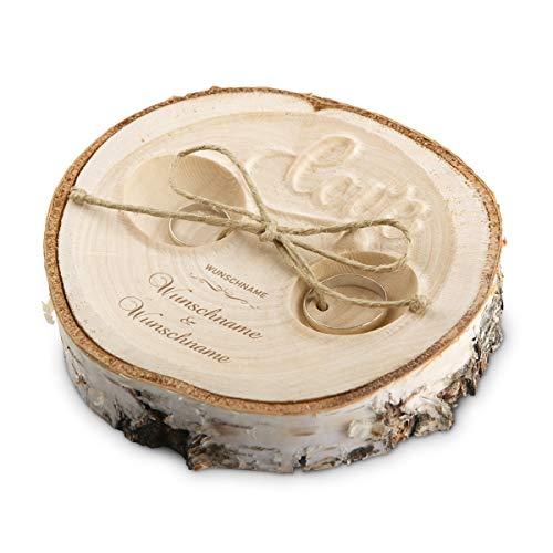Hochzeit Ringkissen Love Birkenscheibe Gravur individuell ca. 11 cm Durchmesser - Schriftzug