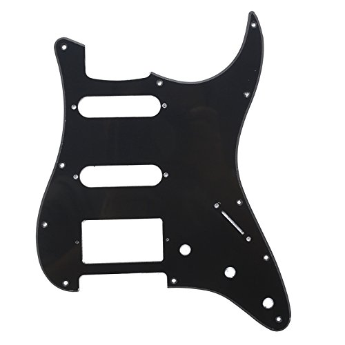 Musiclily 11 Agujeros HSS Strat Pickguard Golpeador para Fender American/México Standard Stratocaster Estilo Moderno, 1 capa Negro