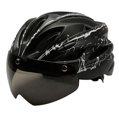 FITYLE Casco de Bicicleta Ajustable Road Mountain City Casco de Bicicleta Urbano Crash Hat con - Negro