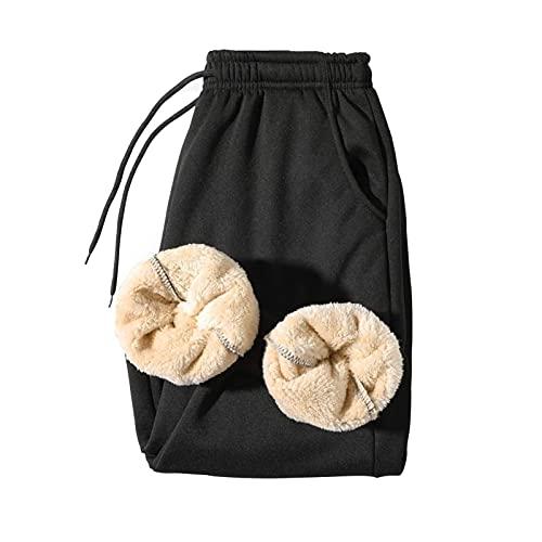 HSOSK Men' s Warm Fleece Pants Sherpa Lined Sweatpants Winter Active Track Jogger Pants (Color : Black, Size : XX-Large)