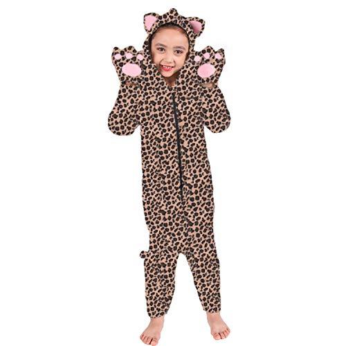 NSSONBEN Pijama de leopardo unisex Onesie, niña niño Anime Cosplay Halloween fiesta de Navidad traje ropa de dormir-8-10 años