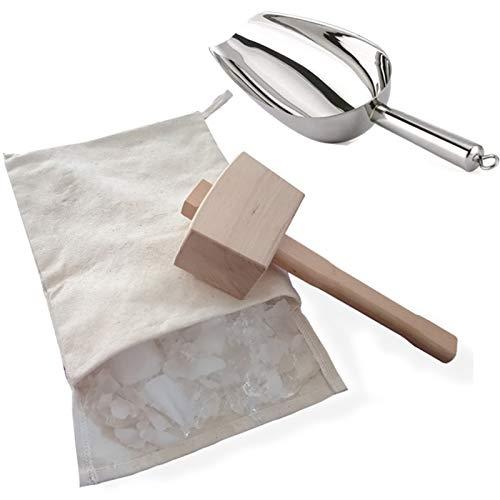 Facibom Mazos de hielo y bolsa de hielo-Martillos de madera y sacos de algodón para triturar hielo, kits de barman, herramientas de barra accesorios de cocina