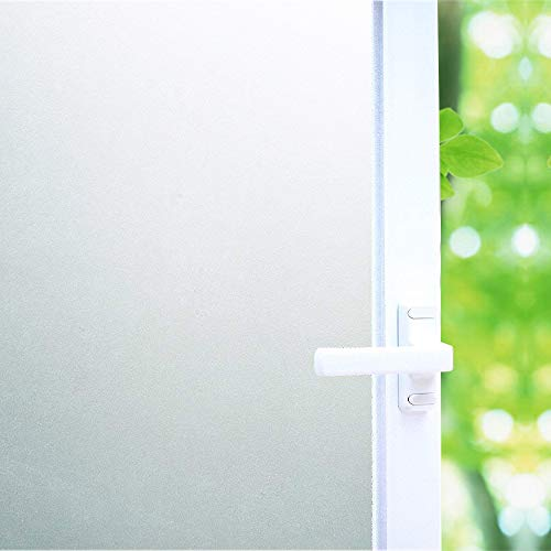 White Frosted Window Film Privacy, High Privacy Protection/No Glue Window Tint Glass Door Film/Heat Control/Anti UV, Stained Glass Static Cling for Bathroom/Meeting Room, 17.7x78.7 inch