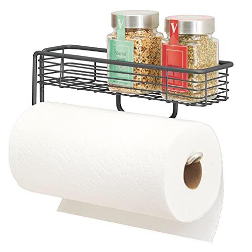 mDesign Küchenrollenhalter – hochwertiger Papierrollenhalter mit integriertem Gewürzregal aus Metall – praktischer Küchenhelfer – grau