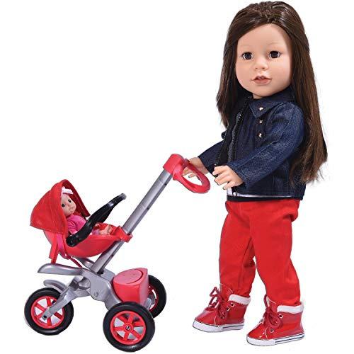 The New York Doll Collection Tschüss Baby Buggy Rot Buggy (Puppenwagen) zusammen mit Babypuppe (18 Zoll Puppe nicht im Lieferumfang enthalten) für 18 Zoll / 46cm Puppen - Puppenwagen - Puppenzubehör