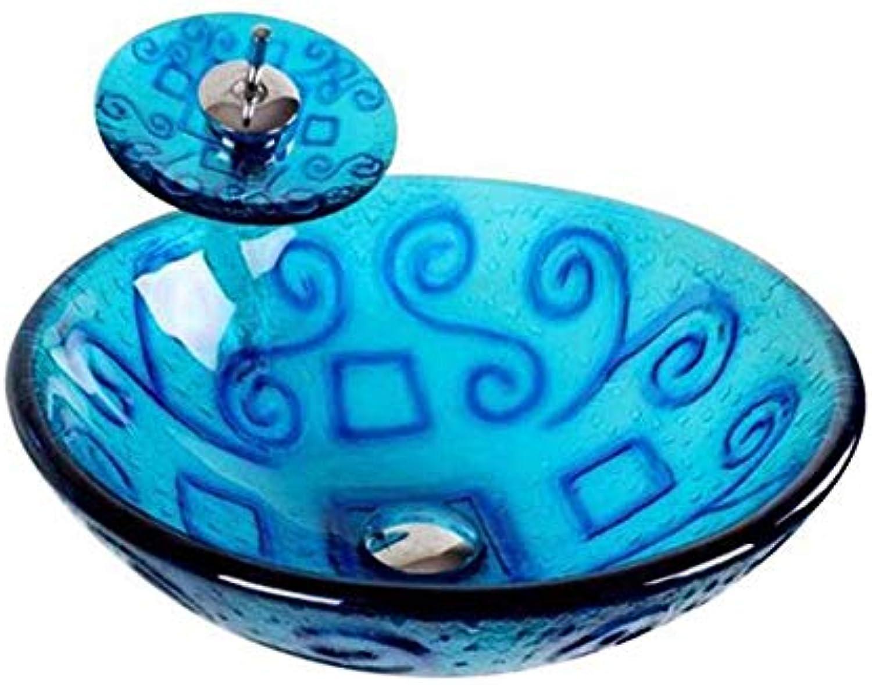 MICOKY über dem Becken Badezimmer blau Glas Waschbecken WC Wasserhahn Set 42  14