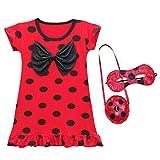 wetry - Kinder Prinzessin Schwarzes Polka Dot Nachthemd Marienkäfer Kostüm Party Cosplay 3er Set - Kleider, Augenmaske, Tasche