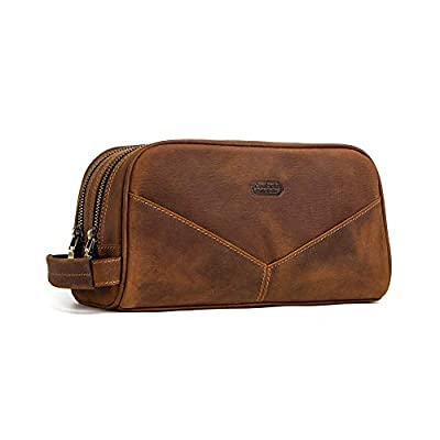 Mens Genuine Leather Business Clutch Wrist Bag Handbag Organizer Phone Checkbook Wallet Card Case Cosmetic Bag (Brown)