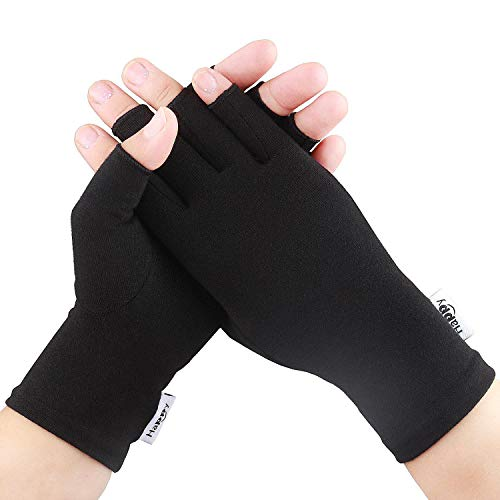Compression Arthritis Gloves, Fingerless Hand Gloves for Rheumatoid & Osteoarthritis - Joint Pain and Carpel Tunnel Relief-Men & Women (Pure Black, Large)