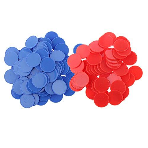 perfeclan 200x Plastic Poker Chips Bingo Markers Tokens Juego de Tablero de Juguete Amarillo Verde - Rojo, Azul
