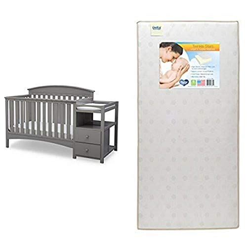 Review Of Delta Children Abby Convertible Crib 'N' Changer, Grey with Twinkle Stars Crib & Toddler M...