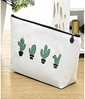 Polykor Fashion Fashion Storage Bag Cosmetic Pouch Bag Cactus Cosmetic Bag for Women(White Cactus)