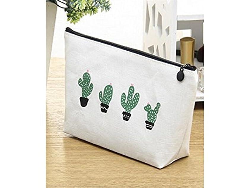 成熟どうやらドット便携式 女性のためのファッションストレージバッグ化粧ポーチバッグサボテン化粧品バッグ(白いサボテン)