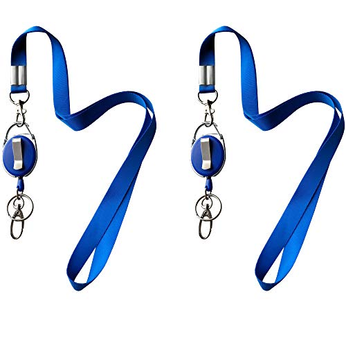 Lanyard + Retractable Badge Reel with Clip and Key Ring for ID Card Holders (2 Blue Reel+Lanyard)